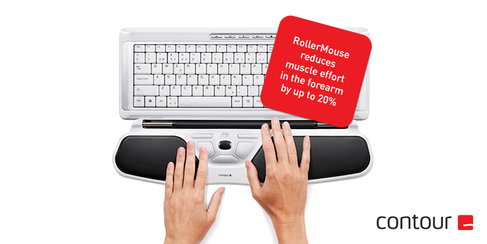 RollerMouse reduces muscle effort in the forearm by up to 20%